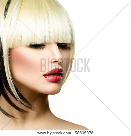 Beautiful Fashion Woman Hairstyle for Short Hair. Fringe Haircut. Beauty Model Girl portrait with hair style. Makeup. Isolated on a White Background. Fashion Woman portrait. Hair coloring