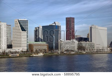 High Buildings On The Right Side Of Nieuwe-maas River In Rotterdam