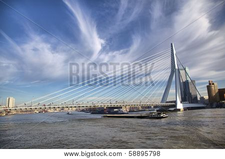 Erasmus Bridge In Rotterdam On The Nieuve-maas River, Rotterdam