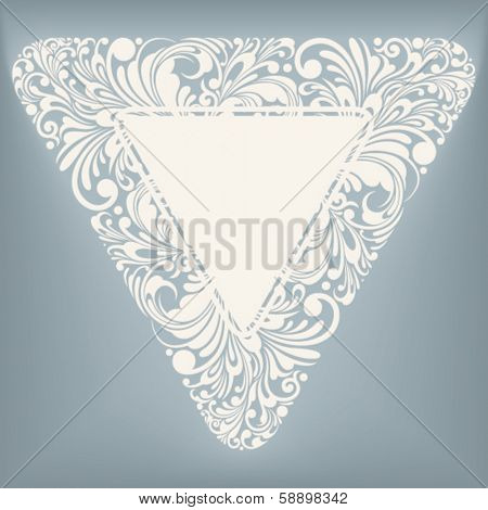 decorative label in triangle shape, vector illustration