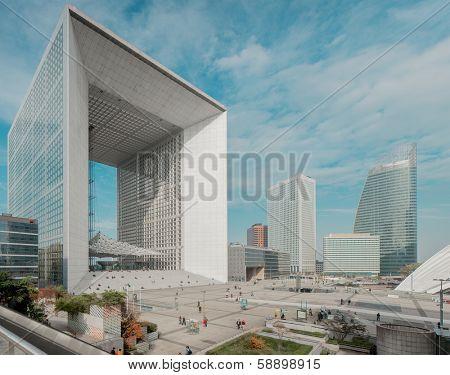 PARIS - NOVEMBER 21: La Grande Arche La Defense on 21.10.2012 in Paris. LA Grande Arche is a monument and building in the business district of La Defense.