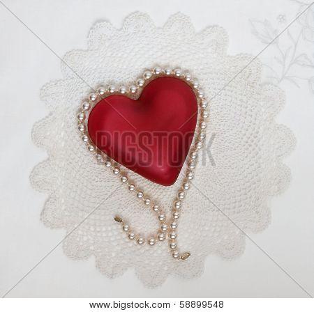 Pearl Draped Heart on Doily