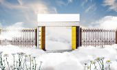 stock photo of gates heaven  - illustration of the heaven gate over white clouds - JPG
