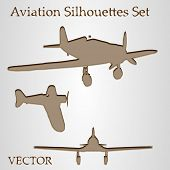 Vector vintage old set of brown planes drawings on a beige background. It is a group or collection o
