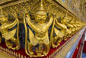 picture of garuda  - Golden Garuda sculptures in the Temple of the Emerald Buddha  - JPG