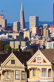 picture of victorian houses  - San Francisco Victorian houses in Alamo Square at California USA - JPG