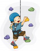 foto of climbing wall  - Illustration of a Little Boy Dressed in Wall Climbing Gear Scaling a Wall - JPG