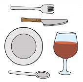 foto of table manners  - Illustration of some dishware ready to use - JPG