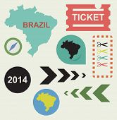 Brazil 2014 flat web design icons isolated with clipping paths.