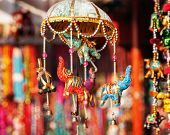 stock photo of flea  - Decorative elephants in Anjuna flea Market Goa India - JPG
