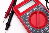 picture of  multimeter  - Red Digital Multimeter isolated on white background - JPG