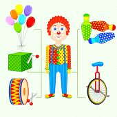 stock photo of circus clown  - vector illustration of circus clown - JPG