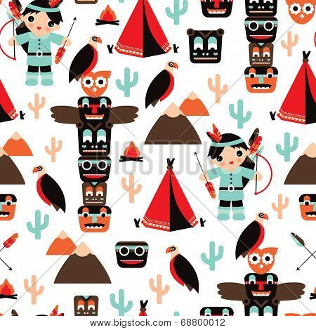 Seamless kids vintage style Indian arrow and totem pole illustration background pattern in vector