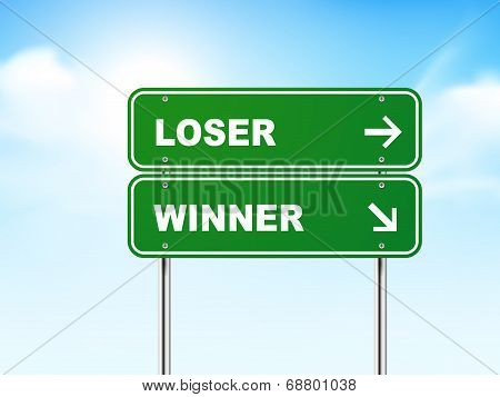 3D Road Sign With Loser And Winner