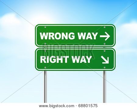 3D Road Sign With Wrong And Right Way