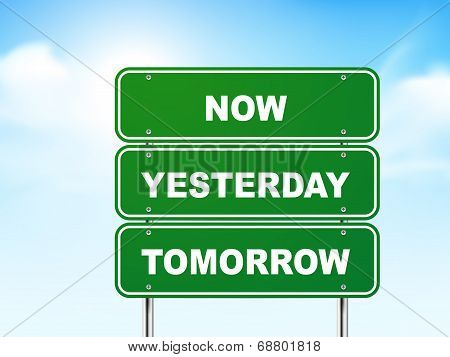3D Road Sign With Now, Yesterday And Tomorrow