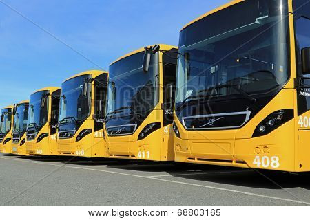 Row Of Yellow Volvo 8900 Intercity Buses