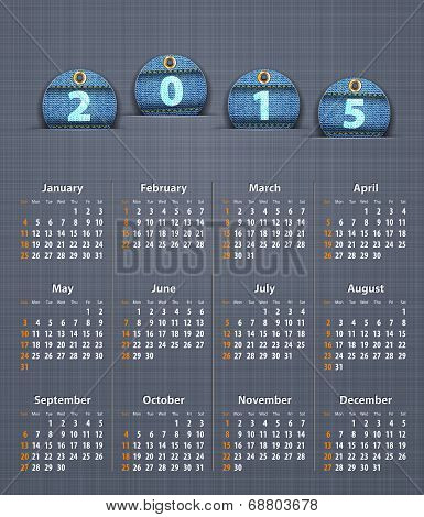 Stylish Calendar For 2015 On Linen Texture With Jeans Tags