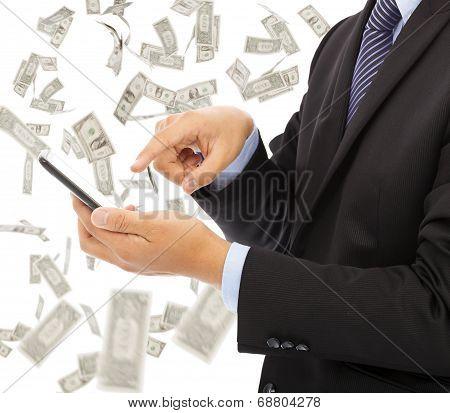 Business Man Touching Smart Phone With Money Rain Background
