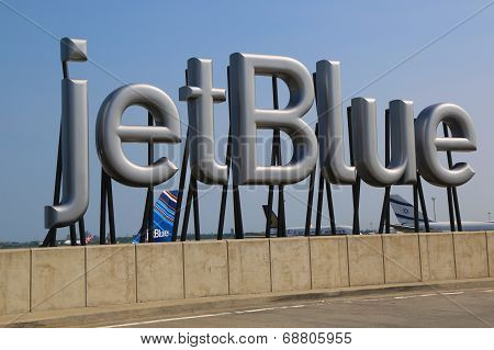 JetBlue sign at the Terminal 5 at John F Kennedy International Airport in New York