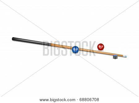 Billiard cue, chalk block and billiard balls