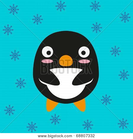 Cute kawaii penguin. Flat design.