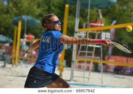 MOSCOW, RUSSIA - JULY 19, 2014: Eva D�¢??Elia of Italy in the match against Russia during ITF Beach Tennis World Team Championship. Italy won 2-1