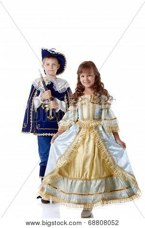 Image of cute children posing in carnival costumes