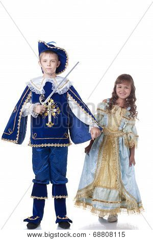 Image of brave musketeer and charming girl