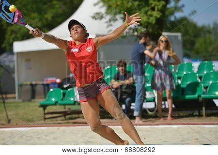 MOSCOW, RUSSIA - JULY 19, 2014: Patricia Diaz of Venezuela in the match against Russia during ITF Beach Tennis World Team Championship. Russia won 2-1