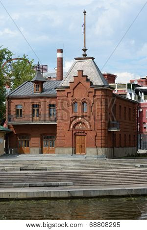 MOSCOW, RUSSIA - JULY 8, 2014: Restored building of Moscow Imperial River Yacht-Club. The club was found in 1867, and reopened in 2014