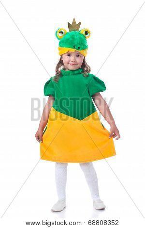 Lovely dark-haired girl posing in frog costume