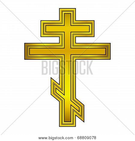 Religious Orthodox Gold Cross Icon