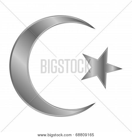 Metal Star And Crescent Icon