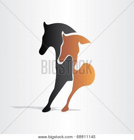 Horses Running Abstract Design