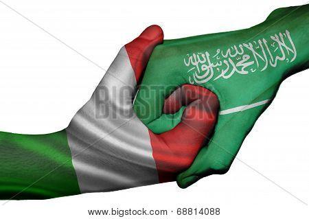 Handshake Between Italy And Saudi Arabia