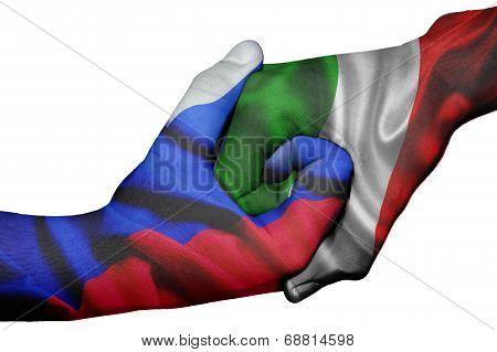 Handshake Between Russia And Italy
