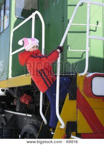 Child On  Footboard Of  Locomotive