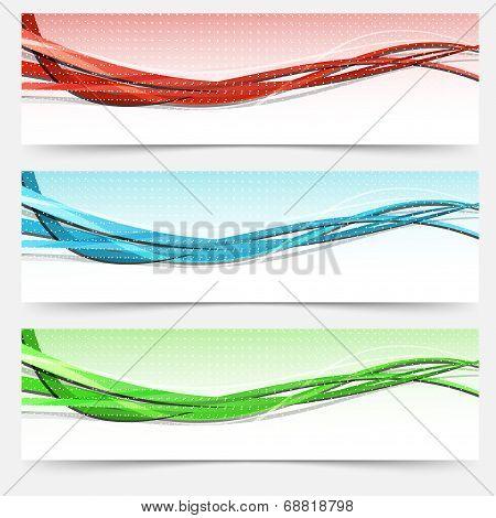 Bright Swoosh Lines Cards Set - Templates