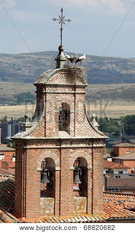 Stork Nest On Top Of A Belltower