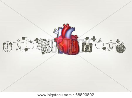 Healthy Heart At The Middle Hand Drawn Tips Around . Healthy Food, Fitness, No Stress