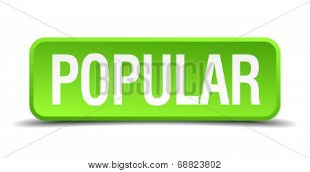 Popular Green 3D Realistic Square Isolated Button