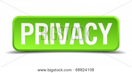 Privacy Green 3D Realistic Square Isolated Button