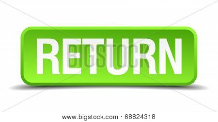 Return Green 3D Realistic Square Isolated Button