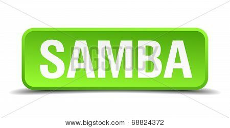 Samba Green 3D Realistic Square Isolated Button