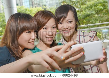 Asian woman selfie with her friends.