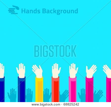Hands Raised Up For Voting Or Polling. Brochure, Leaflet Design