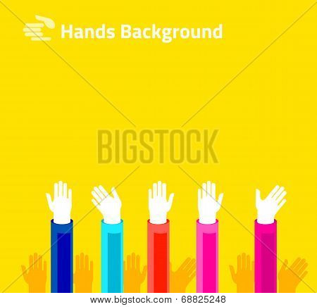 Hands Raised Up For Voting Or Polling. Brochure, Leaflet Design