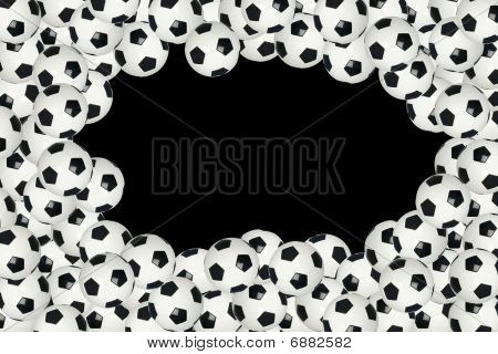 Soccer Ball Border Over Black Background