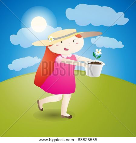 Girl Is Holding A Flowerpot